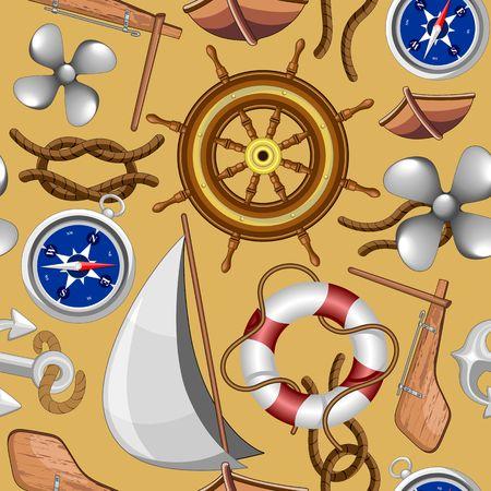Nautical Marine and Navy Vector Objects Seamless Pattern Textile Design Ilustração
