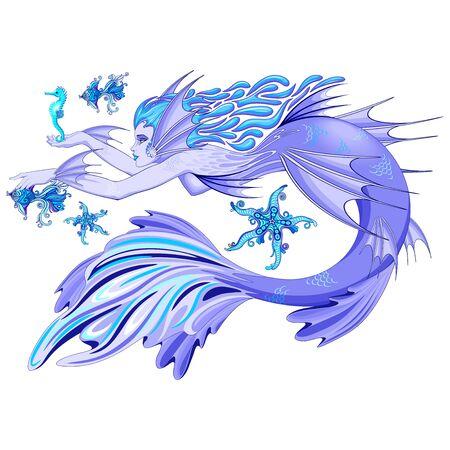 Mermaid Purple Fairy Creature isolated on white