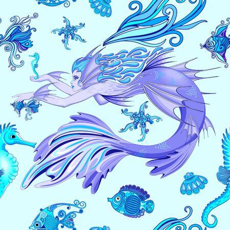 Mermaid Purple Fairy Creature Seamless Vector Pattern Textile Design Ilustração