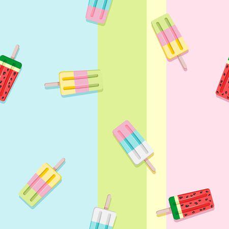 Popscicles Summer Pastel Colors Vector Seamless Pattern Ilustração