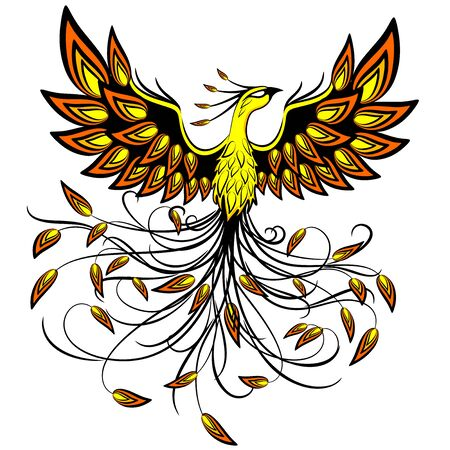 Phoenix Mythical Creature   Tattoo Style Vector Illustration isolated on White