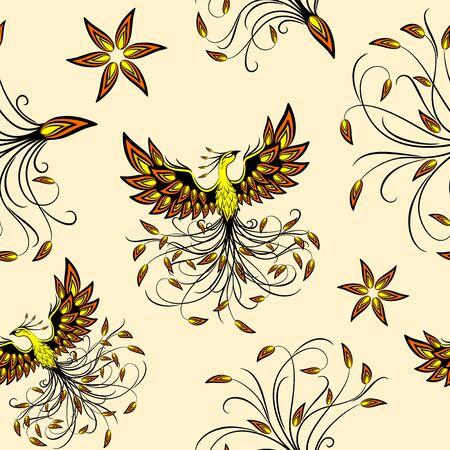 Phoenix Mythical Creature Vector Seamless Pattern Background Ilustração