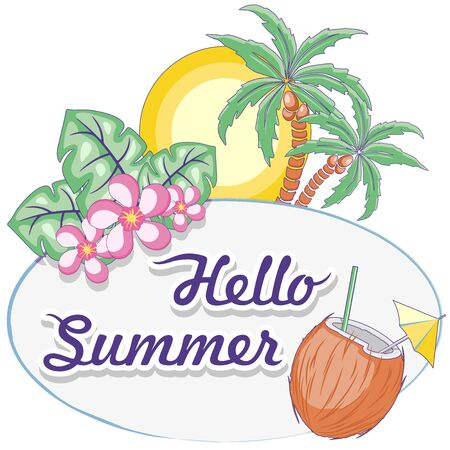 Hello Summer Tropical Oval Framed Logo Vector Logo Design Pastel Colors