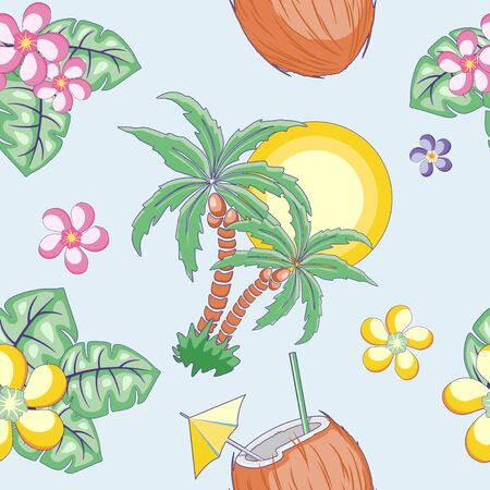 Summer Exotic Mood Vector Seamless Pattern Textile Design