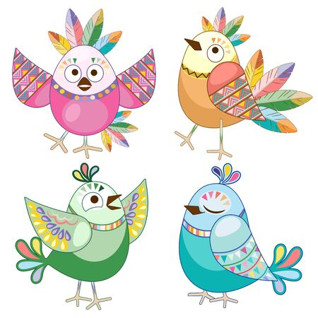 Cute Ethnic Flat Cartoon Birds Characters Vector Illustration isolated on white