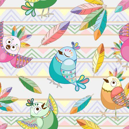 Birds Cute Ethnic Characters Vector Seamless Pattern Textile Design Ilustração