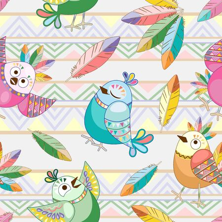 Birds Cute Ethnic Characters Vector Seamless Pattern Textile Design Illustration