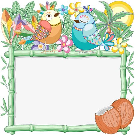 Cuties Birds on Bamboo Summer Frame Vector Background Illustration Ilustração