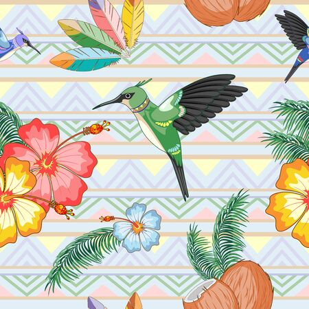 Hummingbirds Ethnic Dance with Hibiscuses Vector Seamless Pattern Textile Design Illustration