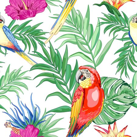 Macaws Parrot Exotic Birds and Nature Summer Vector Seamless Pattern Textile Design Illustration