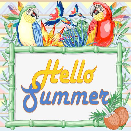 Macaw and Parrots Summer Hello Bamboo Panel Background