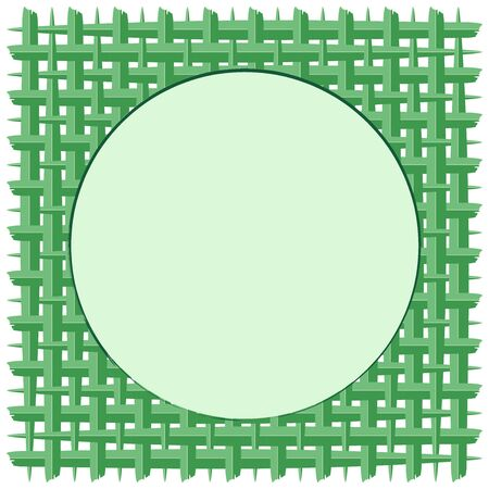 Woven Coconut Leaf with Green Round Frame Vector Background Illustration