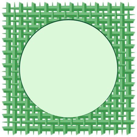 Woven Coconut Leaf with Green Round Frame Vector Background Ilustração