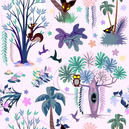 Enchanted Pink Jungle Seamless Vector Pattern Textile Design