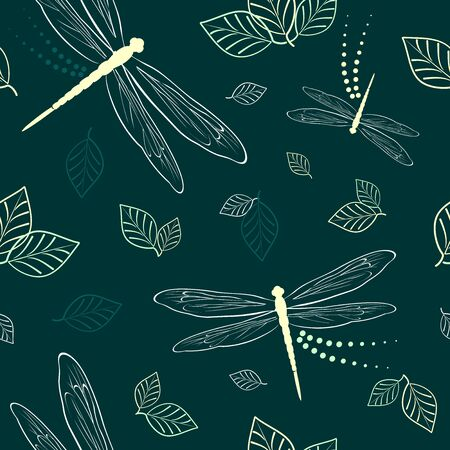 Dragonflies and Leaves Vector Textile Seamless Pattern