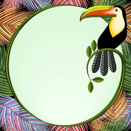 Palm Leaves Frame With Bird Toucan Vector Background illustration
