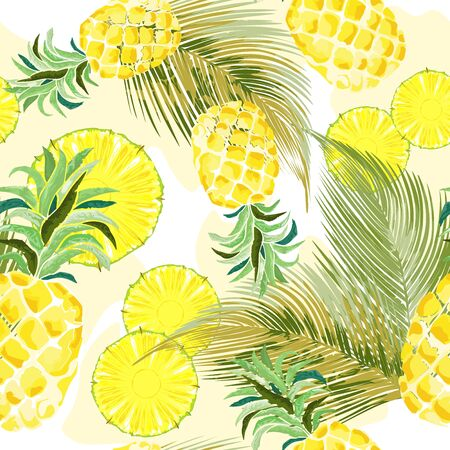 Pineapple Fresh Watercolor Vector Seamless Textile Design Pattern