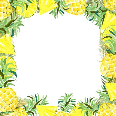 Pineapple and Watercolor Slices Summer Frame Vector Background