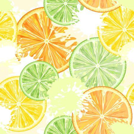 Citrus Watercolors Vector Seamless Textile Pattern Background