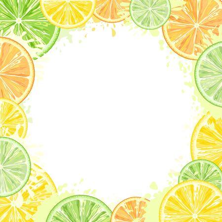 Citrus Watercolors Fresh Summer Frame Vector Design