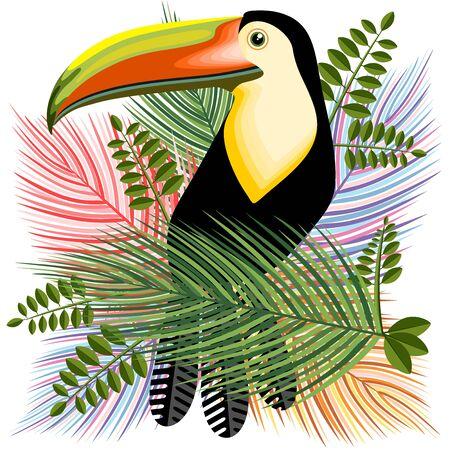 Hawaiian Toucan Summer Mood Vector Illustration
