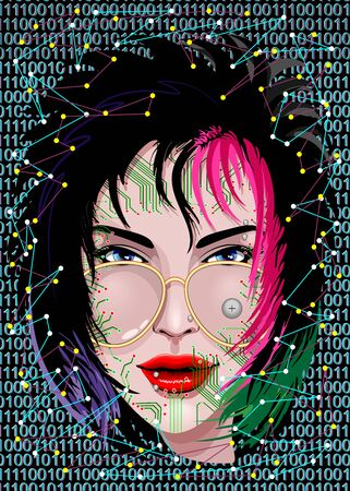 Knowledge is Power - Portrait of a weird girl Vector Graphic Art Illustration