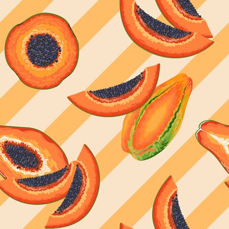 Papaya Party Vector Seamless Textile Design Pattern