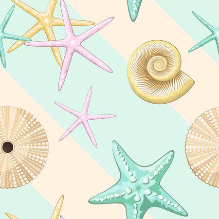 Pastel Retro Seashells Vector Seamless Textile Design Pattern Ilustração