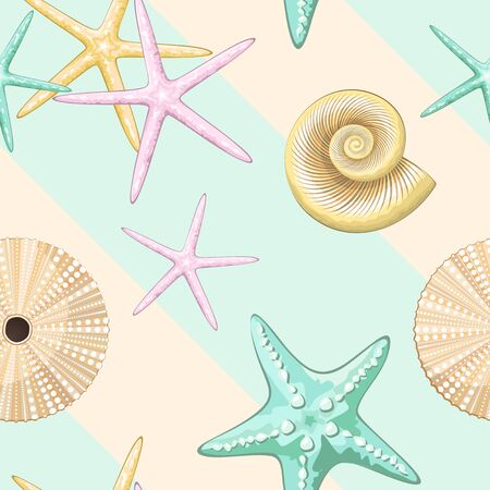 Pastel Retro Seashells Vector Seamless Textile Design Pattern Illustration