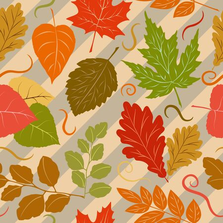 Autumn Leaves Fall Season Vector Seamless Textile Design Pattern