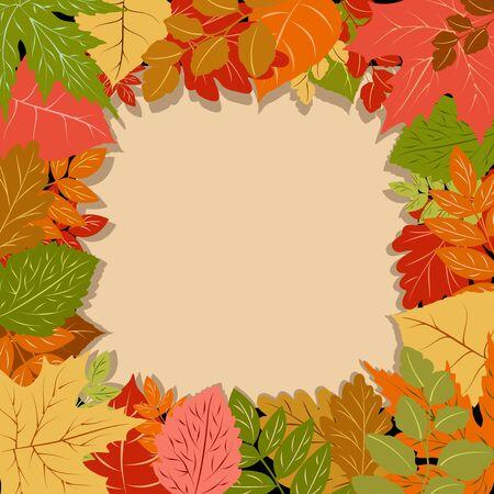Fall Season Autumn Leaves Vector Frame Border Background
