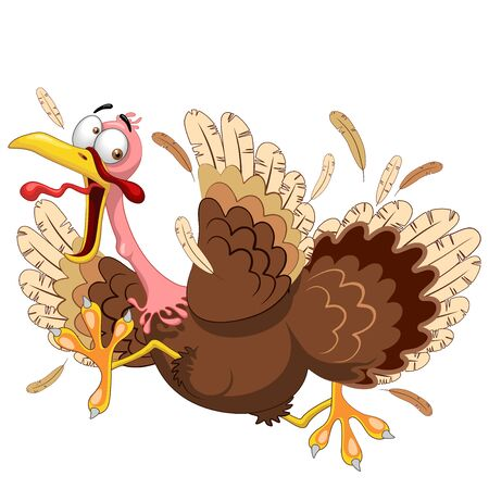 Thanksgiving Turkey Funny Scared and Running Cartoon Character Vector Illustration