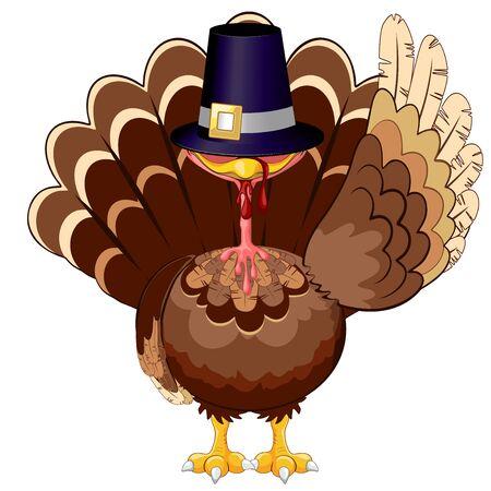 Thanksgiving Turkey Funny Cartoon Character Vector Illustration Ilustração