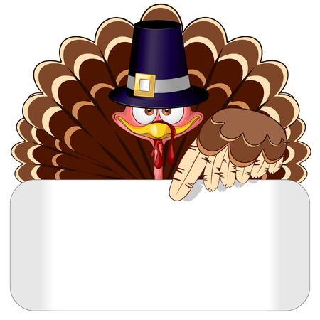 Thanksgiving Turkey Character Whith Blank Panel Vector Illustration