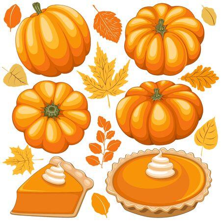 Pumpkins, Pumpkins Pie and Autumn Leaves Vector Elements isolated on white Ilustração