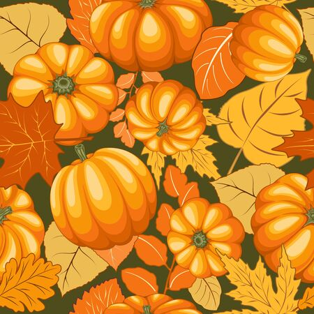 Pumpkins and Autumn Leaves Happy Thanksgiving Halloween Party Vector Illustration Ilustração