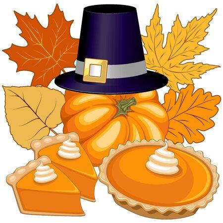 Halloween Thanksgiving Pumpkin Pie Holidays Composition Vector Illustration