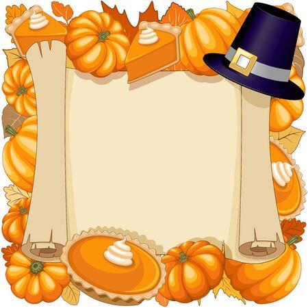 Halloween Thanksgiving Pumpkin Pie Holidays Pared Frame Vector Illustration Ilustração