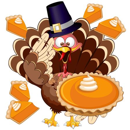 Turkey Happy Thanksgiving Character with Pumpkin Pie Vector Illustration Illustration