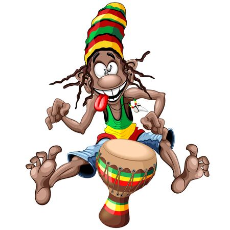 Rasta Bongo Musician funny cool cartoon character vector illustration