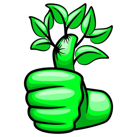 Green Hand Thumb Up and Leaves Ecological Vector Illustration