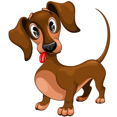 Dachshund Cute Confused Dog Puppy Cartoon Character Vector Illustration