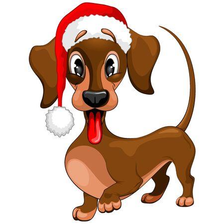 Dachshund Christmas Santa Cute Cartoon Character Vector Illustration Ilustracja