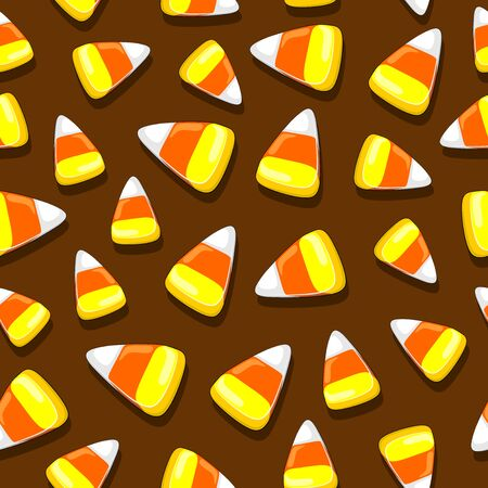Halloween Candies Party Festive Seamless Vector Textile Pattern Ilustração