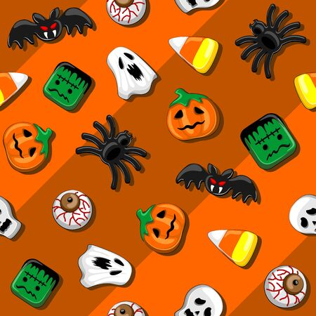 Halloween Spooky Party Candies Seamless Vector Textile Pattern