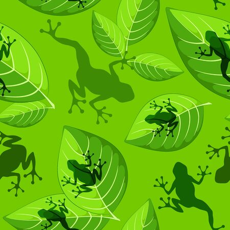 Frog shapes on Green Leaves Vector Seamless Textile Pattern Design