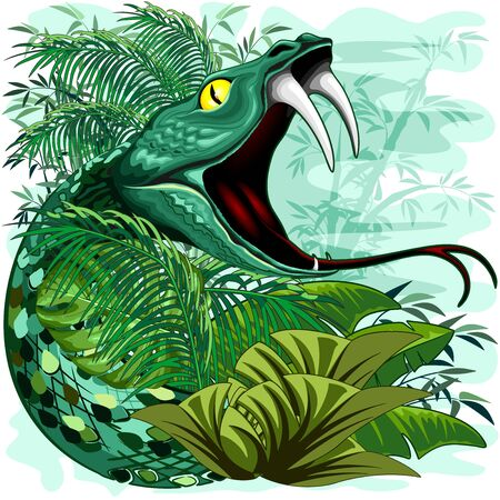 Snake Spirit in Rainforest Jungle Vector Illustration Illustration