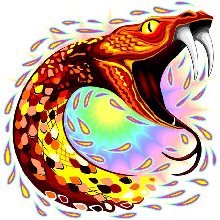 Snake Attack Psychedelic Art Vector Illustration