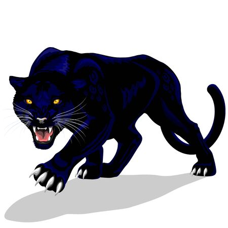 Black Panther Roaring Spirit Vector illustration isolated on white.