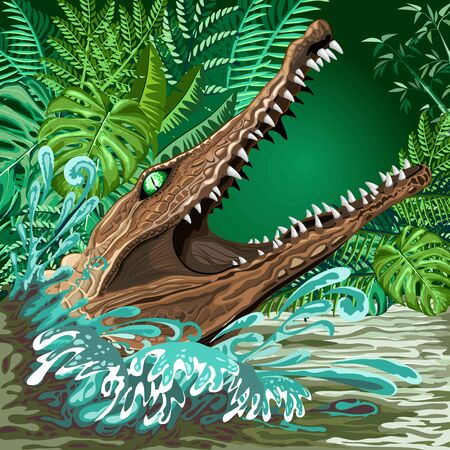 Crocodile Alligator Attack coming out of the Rainforest River Vector illustration Illustration